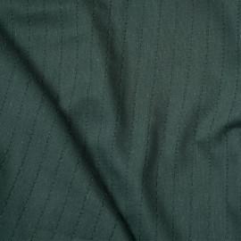 Tissu gaze de coton tissé vert bistro à bande brodé x 10cm