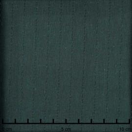 Tissu gaze de coton tissé vert bistro à bande brodé - pretty mercerie - mercerie en ligne