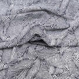 Tissu lin et viscose à motif graphique imprimé noir et blanc x 10CM