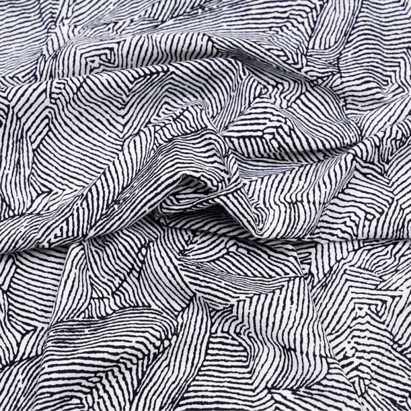Tissu lin et viscose à motif graphique imprimé noir et blanc  - pretty mercerie - mercerie en ligne