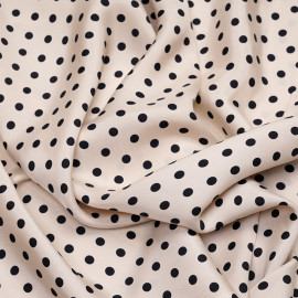 Tissu cupro beige rosé à pois noir - pretty mercerie - mercerie en ligne