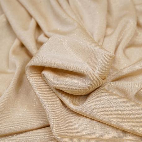 Tissu maillot de bain beige et paillettes or - pretty mercerie - mercerie en ligne