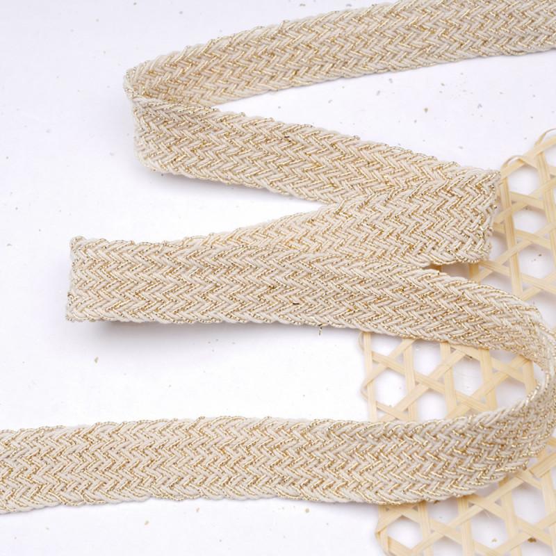 Galon tressé coton écru et fil lurex or 20mm - pretty mercerie - mercerie en ligne