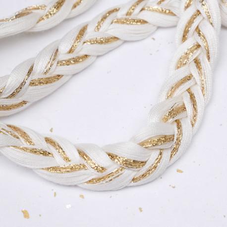 Corde tressée blanc cassé et fil lurex or 13mm - pretty mercerie - mercerie en ligne