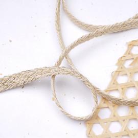 Galon tressé coton écru et fil lurex or 12mm - pretty mercerie - mercerie en ligne