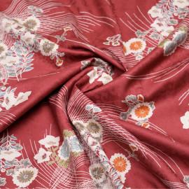 Tissu jacquard coton fleuri japonais cranberry  x 10 CM