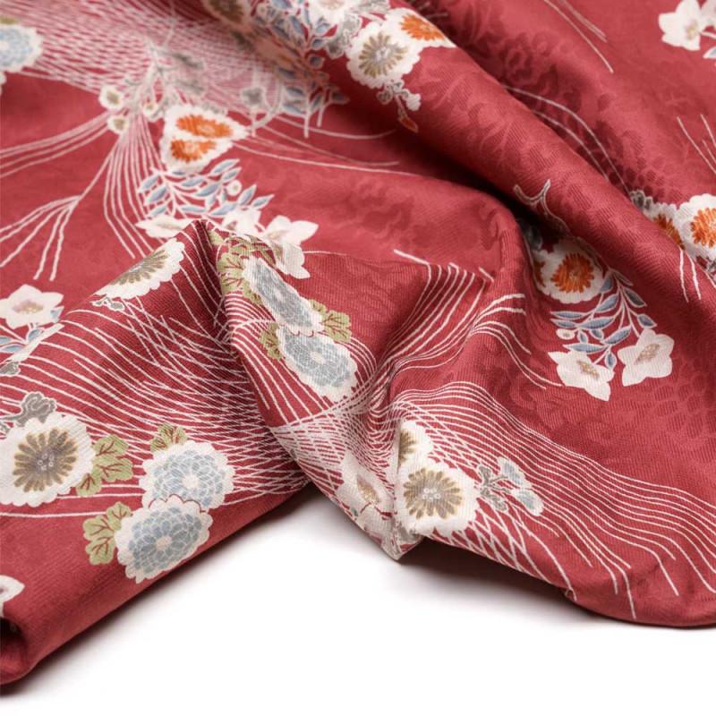 Tissu jacquard coton fleuri japonais cranberry - pretty mercerie - mercerie en ligne