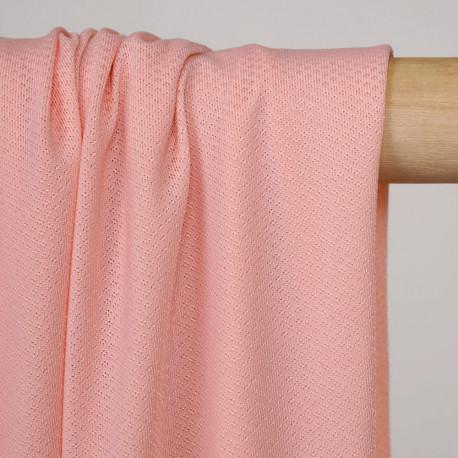 Tissu maillot de bain tropical peach tissé losanges - pretty mercerie - mercerie en ligne