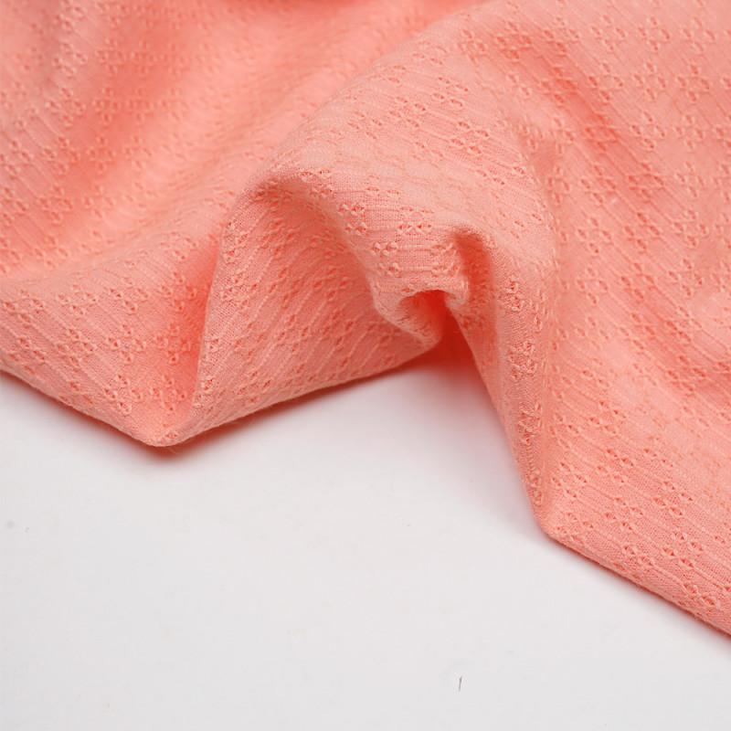 Tissu coton brodé graphique peach pink - pretty mercerie - mercerie en ligne