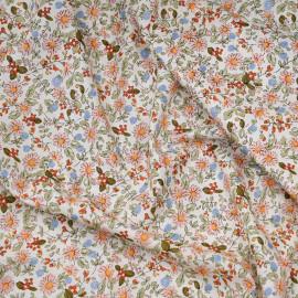 Tissu coton écru fleurs des champs rose, kaki, orange et bleu x 10cm