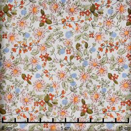 Tissu coton écru fleurs des champs rose, kaki, orange et bleu - pretty mercerie - mercerie en ligne