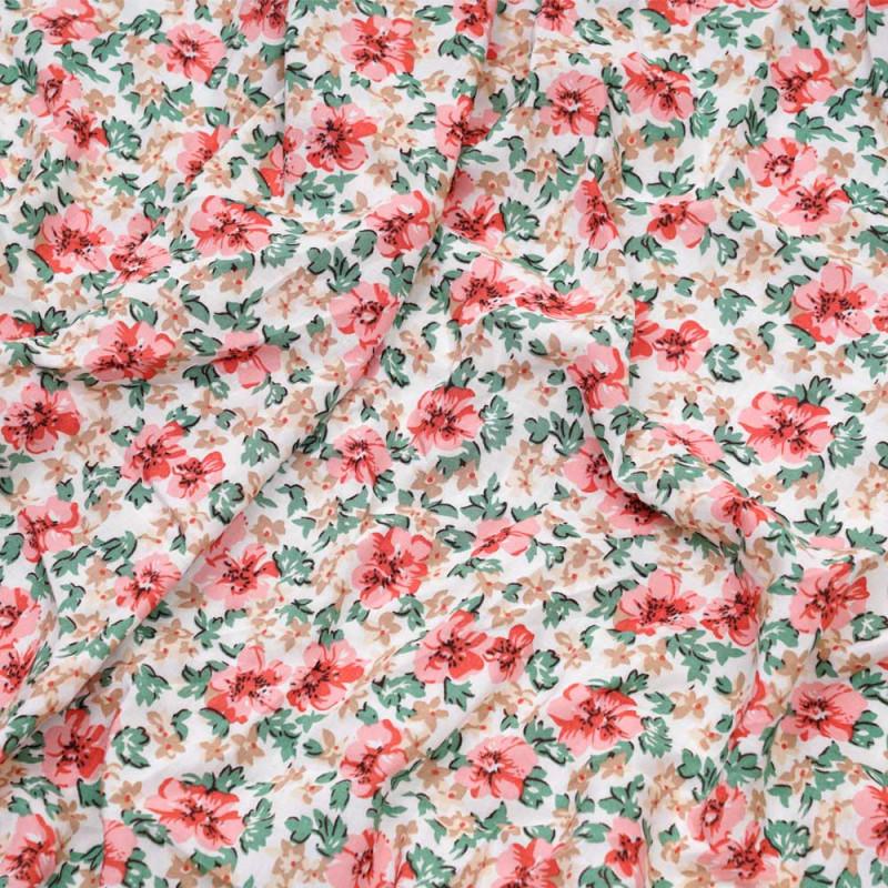 Tissu viscose blanc à motif fleurs des tropiques roses, verts et beiges - pretty mercerie - mercerie en ligne