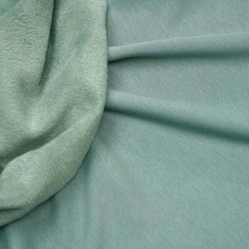 Tissu sweat gratté vert sauge - pretty mercerie - mercerie en ligne
