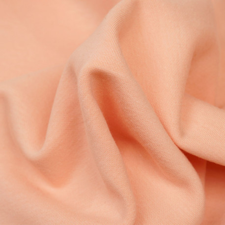 Tissu sweat gratté tropical peach - pretty mercerie - mercerie en ligne