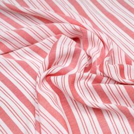Tissu viscose rayé et tissé rouge paprika x 10 CM