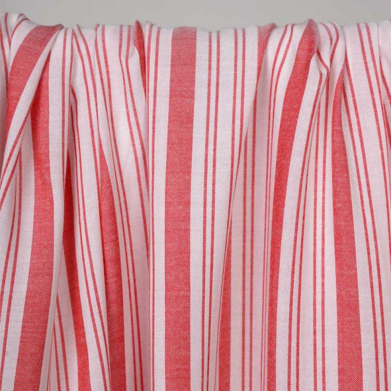 Tissu viscose rayé et tissé rouge paprika -pretty mercerie - mercerie en ligne