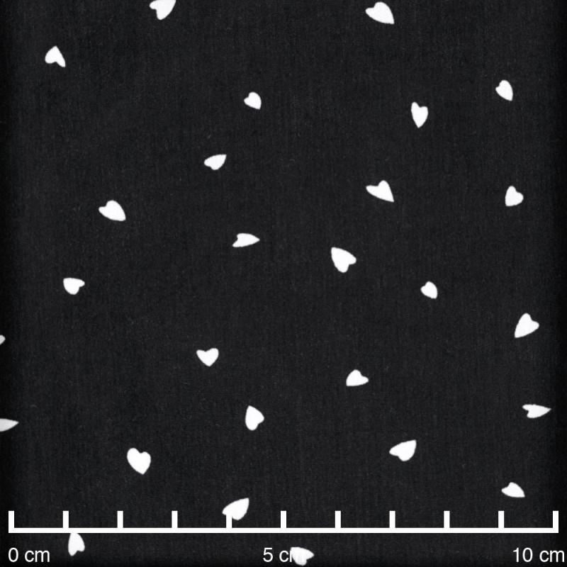 Tissu crêpe noir imprimé petit coeur blanc cassé - pretty mercerie - mercerie en ligne