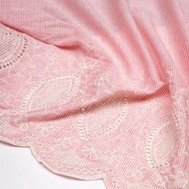Tissu coton tissé et rayé blanc et rouge feston brodé écru x 10cm