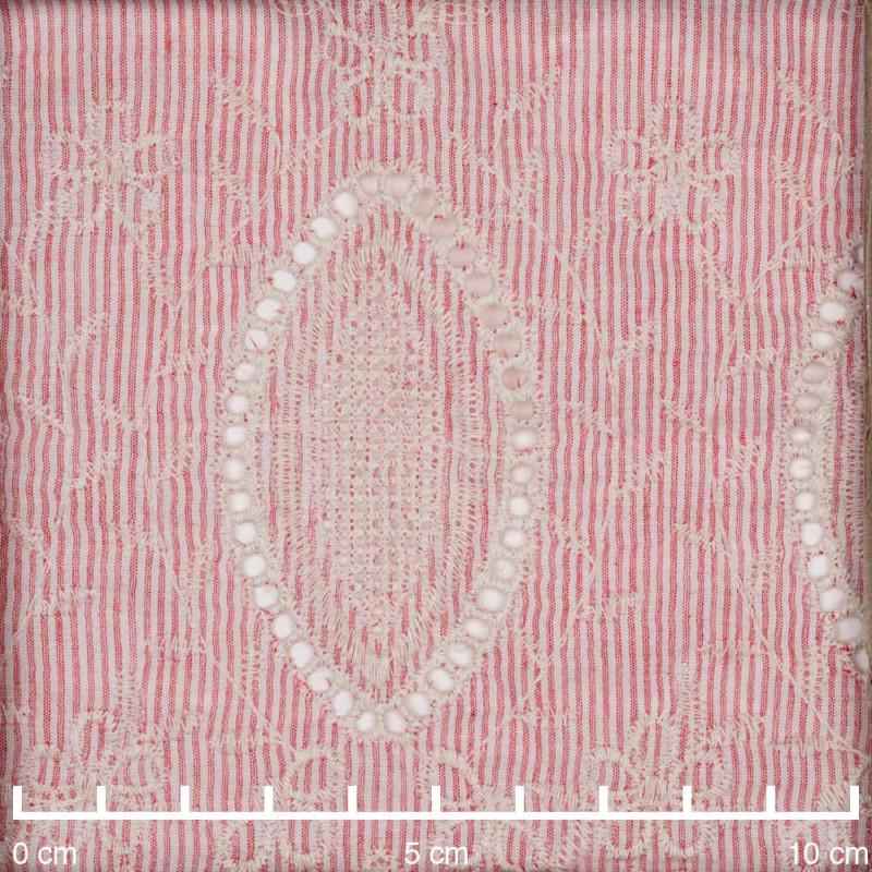 Tissu coton tissé et rayé blanc et rouge feston brodé écru - pretty mercerie - mercerie en ligne