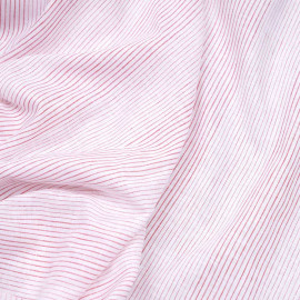 Tissu coton et lin blanc à motif tissées rayures rouge X 10 CM