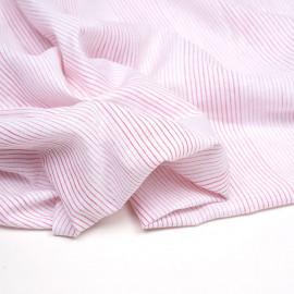 Tissu coton et lin blanc à motif tissées rayures rouge - pretty mercerie - mercerie en ligne