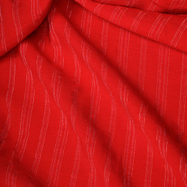 Tissu viscose tissé rouge framboyant à rayures fil lurex argent  x 10 CM