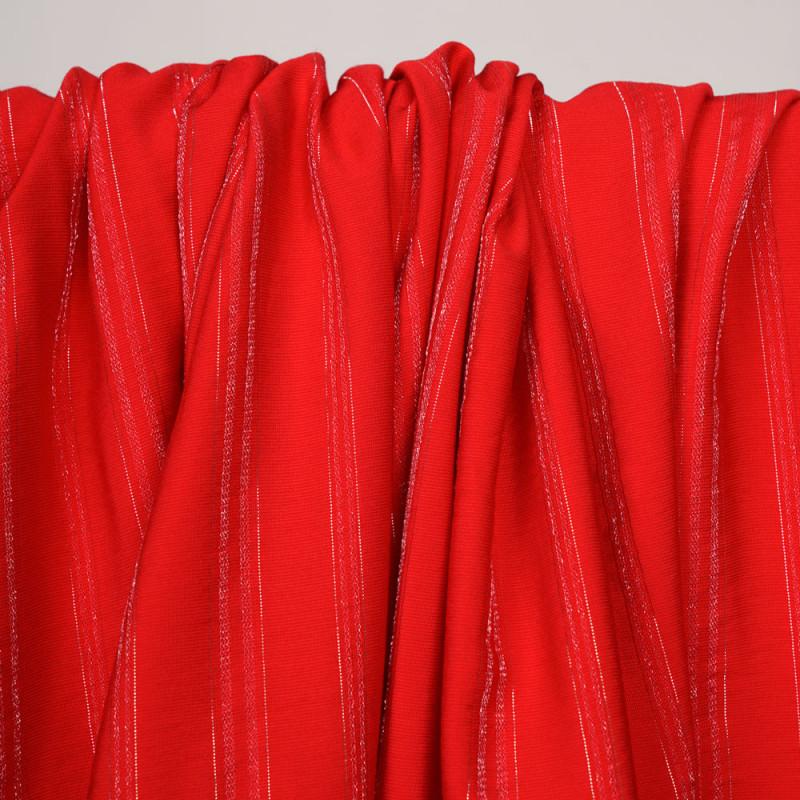 Tissu viscose tissé rouge framboyant à rayures fil lurex argent  - pretty mercerie - mercerie en ligne