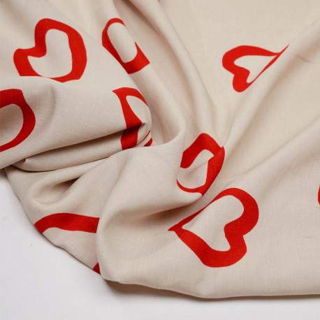 Tissu lin et viscose beige à motif coeur rouge  - pretty mercerie - mercerie en ligne