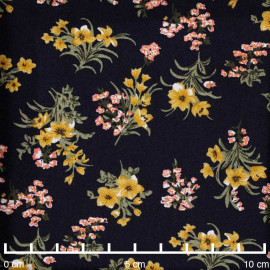 Tissu viscose bleu foncé à motif fleurs des champs moutarde, corail et vert  - pretty mercerie - mercerie en ligne