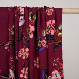 Tissu viscose beaujolais à motif fleurs exotiques rose, gris et bleu - pretty mercerie - mercerie en ligne