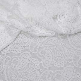 Tissu dentelle blanc cassé à motif paisley x 10cm