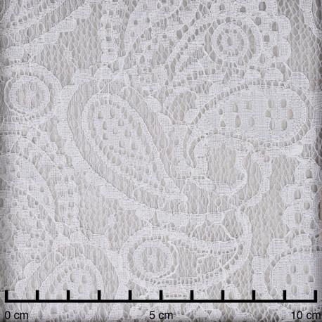Tissu dentelle blanc cassé à motif paisley  - pretty mercerie - mercerie en ligne