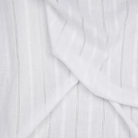 Tissu coton brodé blanc cassé à motif lignes brodés x 10cm
