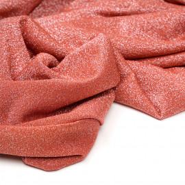 Tissu maillot de bain ginger spice fil lurex argent  x 10cm