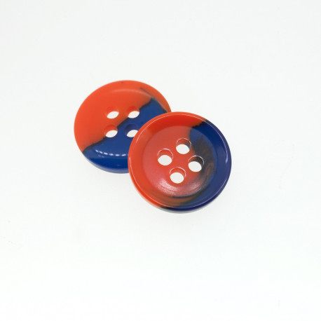 Bouton rond bi-color bleu & orange
