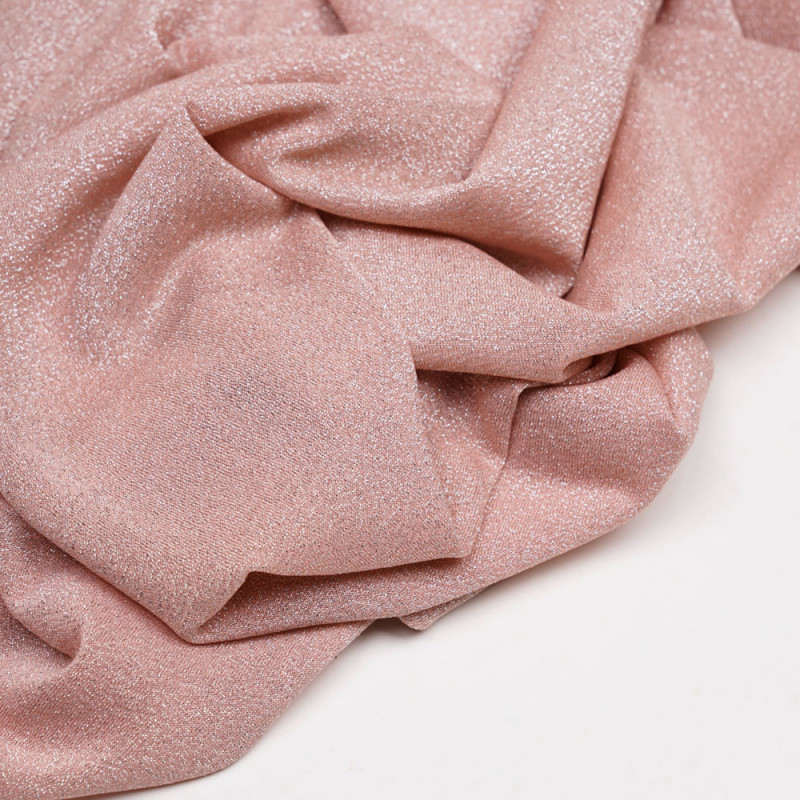 Tissu maillot de bain rose poudré fil lurex argent - pretty mercerie - mercerie en ligne