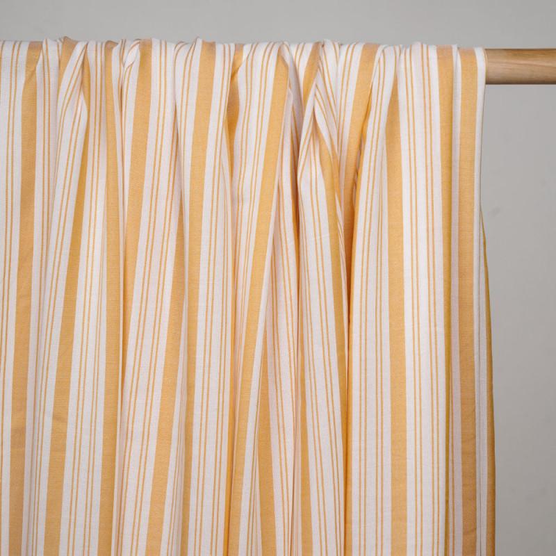 Tissu viscose rayé et tissé golden glow - pretty mercerie - mercerie en ligne