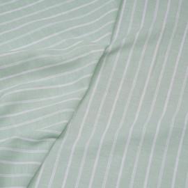 Tissu coton et lin blanc tissé et rayé vert pastel x 10CM