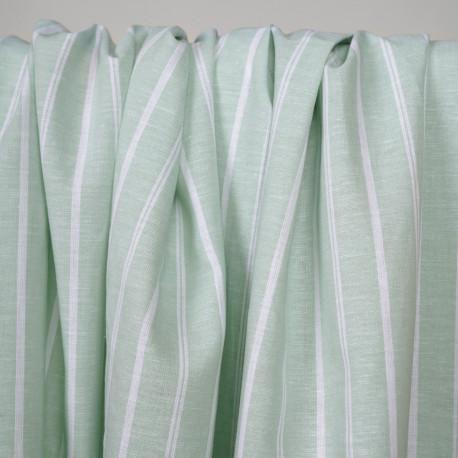 Tissu coton et lin blanc tissé et rayé vert pastel - pretty mercerie - mercerie en ligne