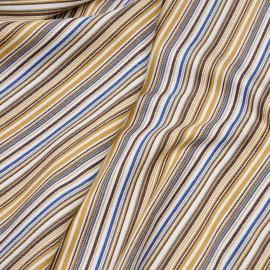 Tissu coton sergé blanc cassé tissé et rayé moutarde, bleu et cacao x 10cm