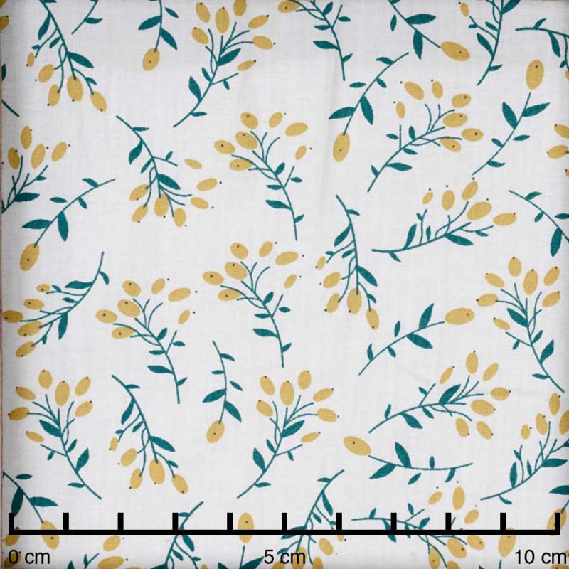 Tissu coton blanc cassé à motif branche vert et lemon curry - pretty mercerie - mercerie en ligne