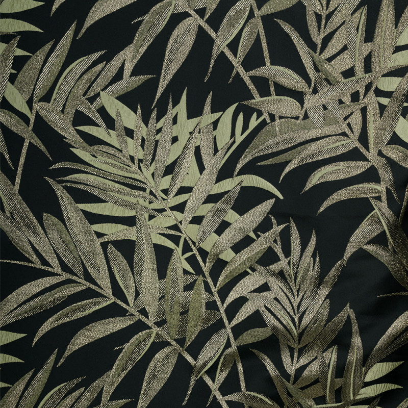 Tissu jacquard noir motif feuillage vert et fil lurex or - pretty mercerie - mercerie en ligne