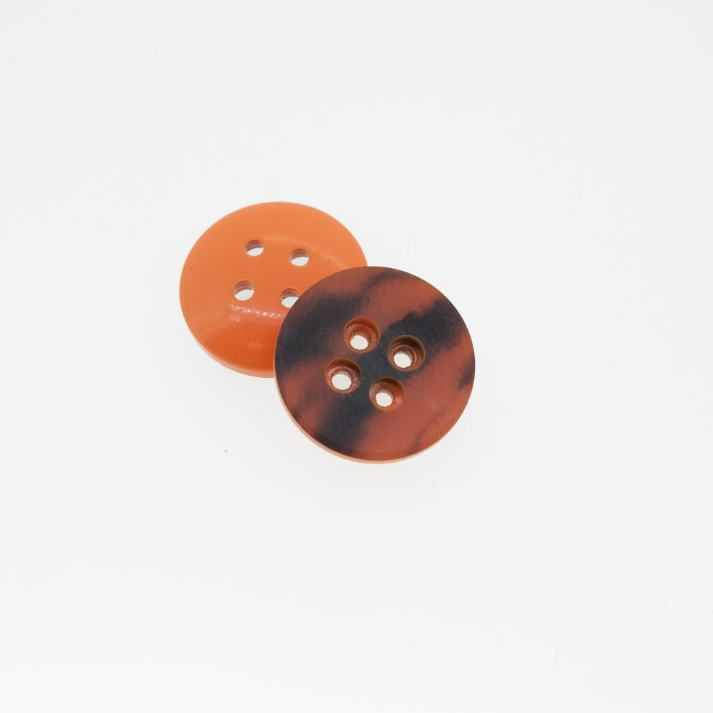 Bouton rond bi-color orange & noir