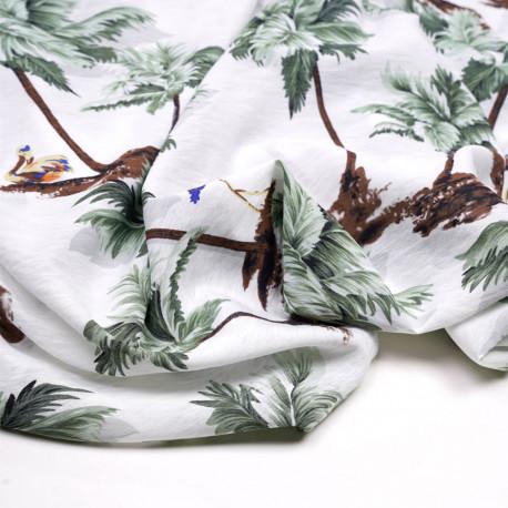 Tissu viscose blanc tissé palmier et flamant rose vert - pretty mercerie - mercerie en ligne