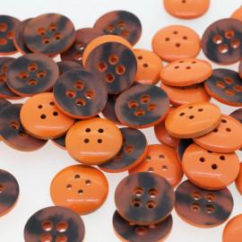 Bouton rond bi-color orange & noir