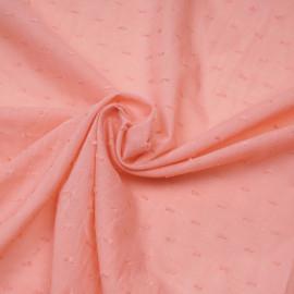Tissu coton plumetis rose corail x 10cm