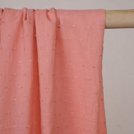 Tissu coton plumetis rose corail - pretty mercerie - mercerie en ligne