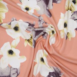 Tissu viscose abricot à motif branches fleuries jaune, blanc et gris  x 10 CM