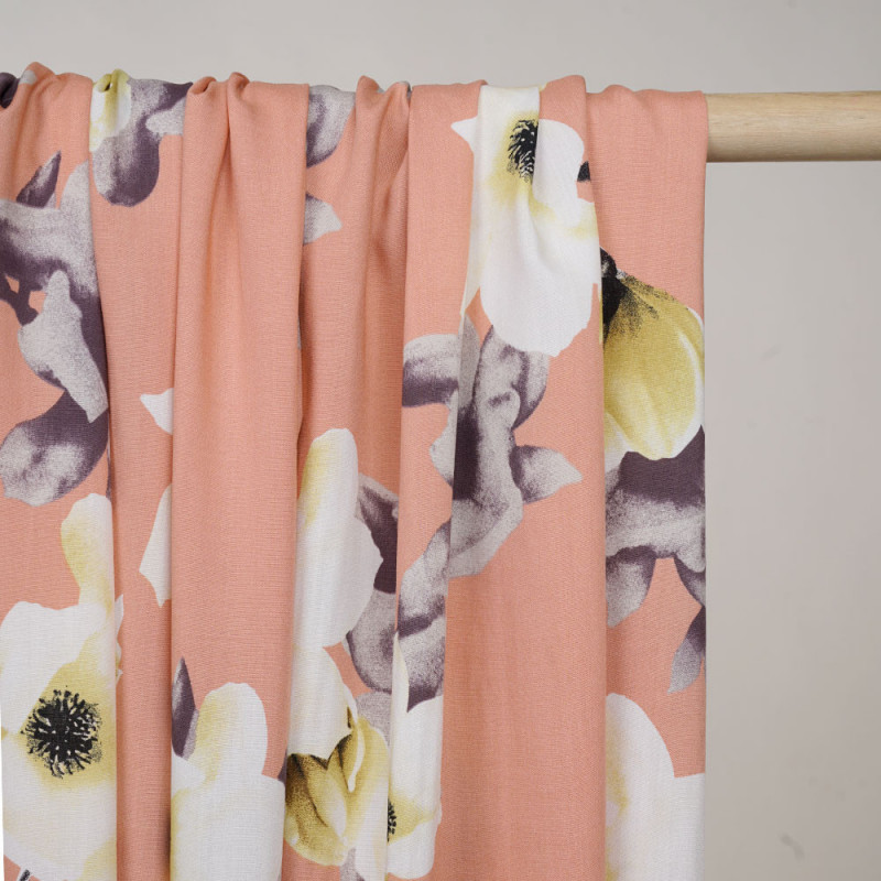 Tissu viscose abricot à motif branches fleuries jaune, blanc et gris - pretty mercerie - mercerie en ligne