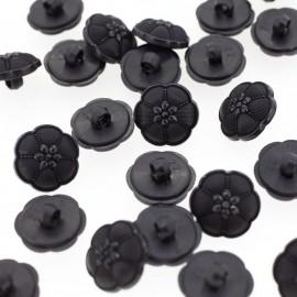 Bouton rond effet strass noir